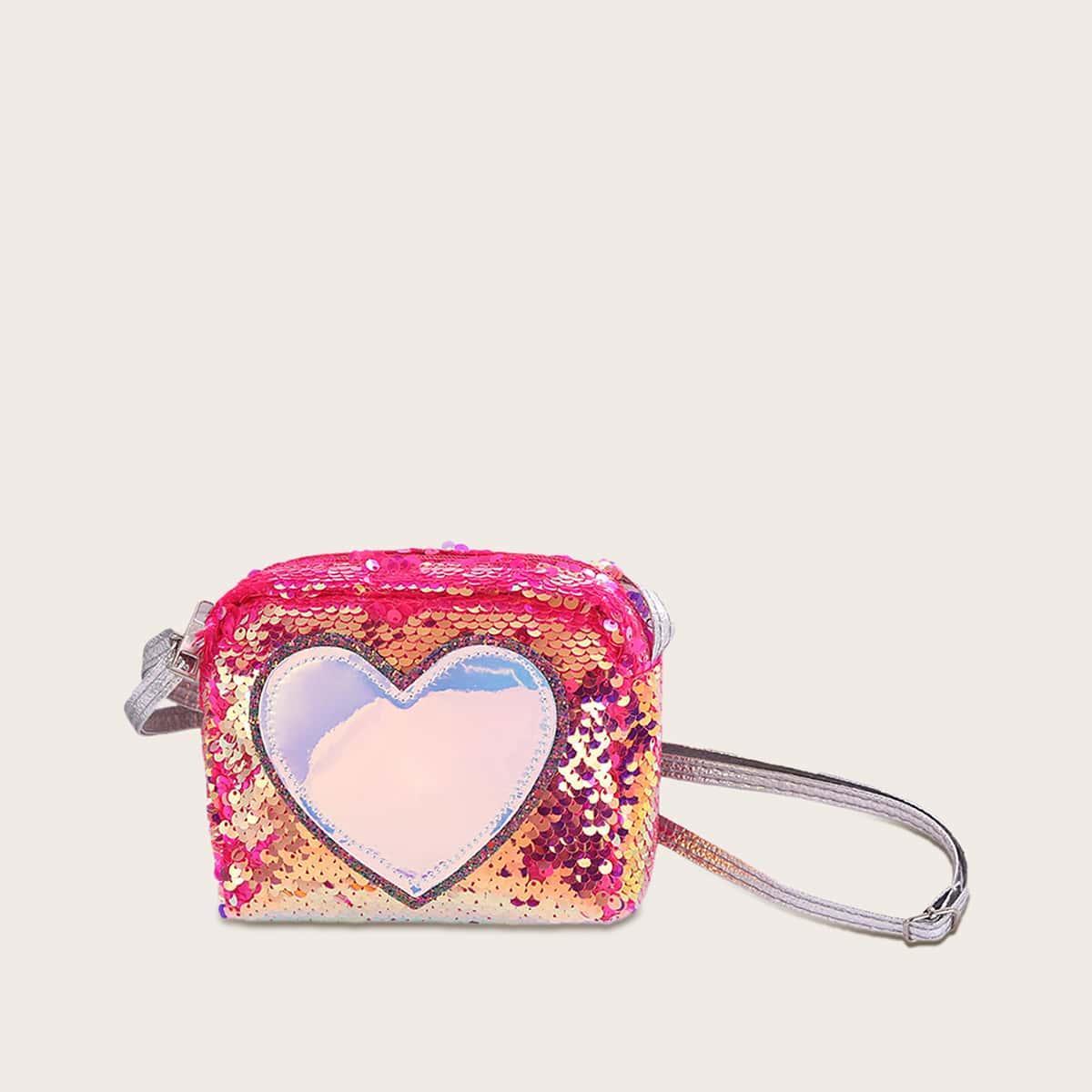 Сумка через плечо с сердечным узором и блестками для девочек