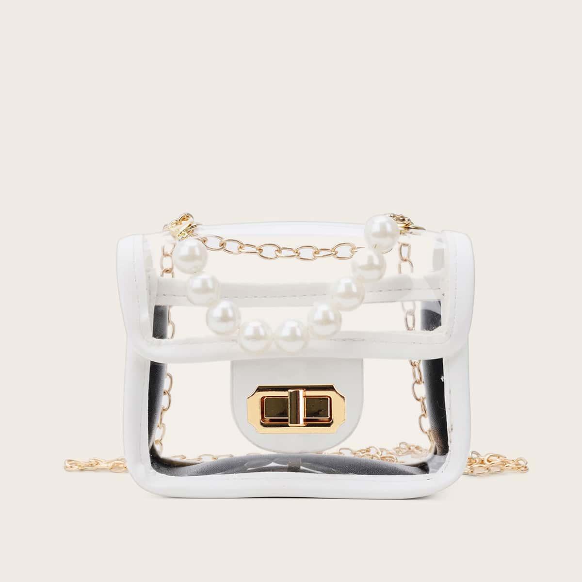 Duidelijke Pearl Decor-schooltas met ketting voor meisjes