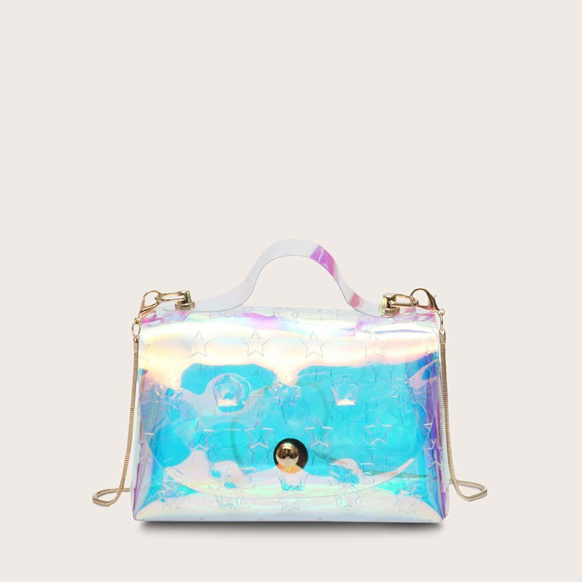 Satchel-tas voor meisjes met transparant geo-patroon