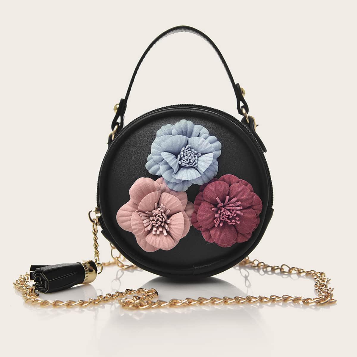 Satchel-tas met bloemenapplicaties voor meisjes