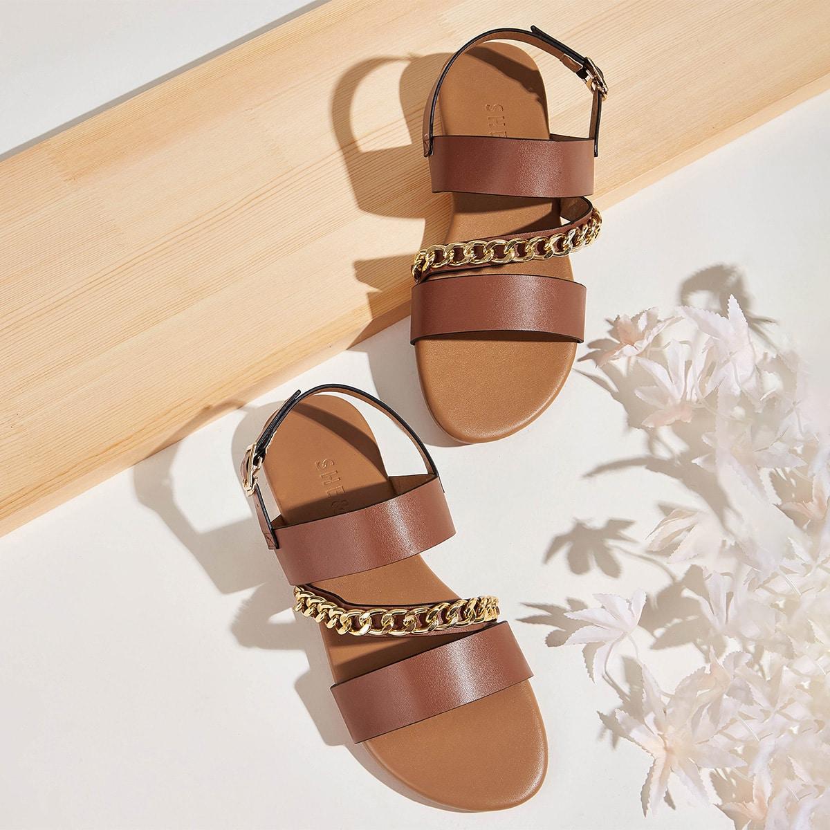 Chain Decor Slingback platte sandalen