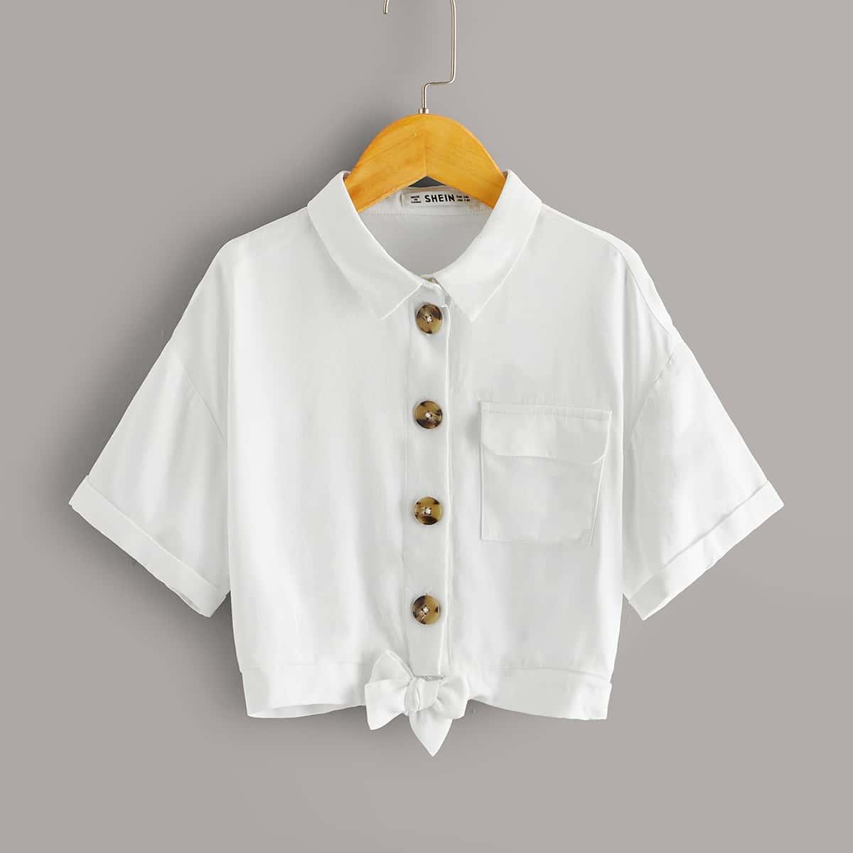 Блуза с карманом и пуговицами для девочек от SHEIN