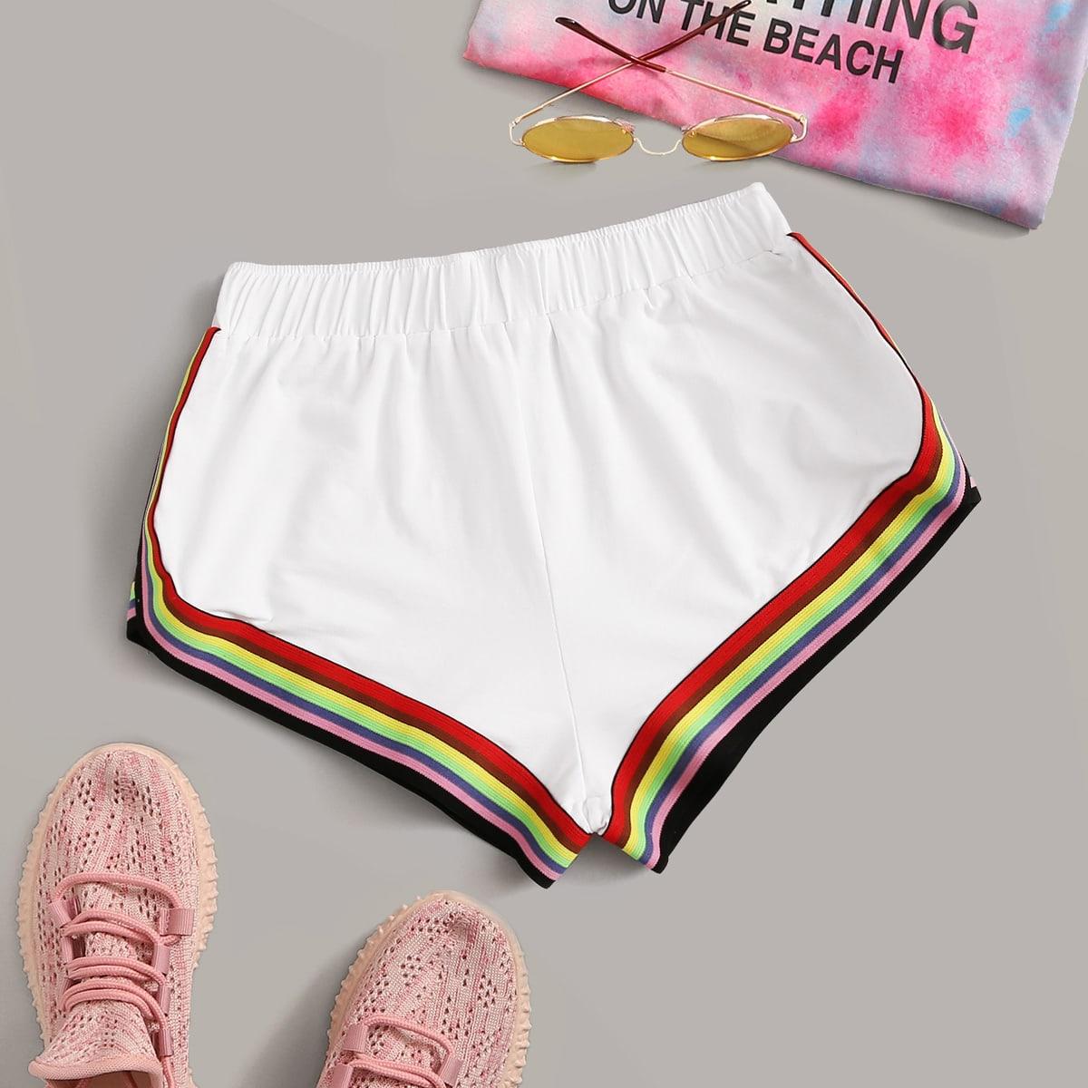 Shorts deportivos de cintura elástica de rayas de arcoíris