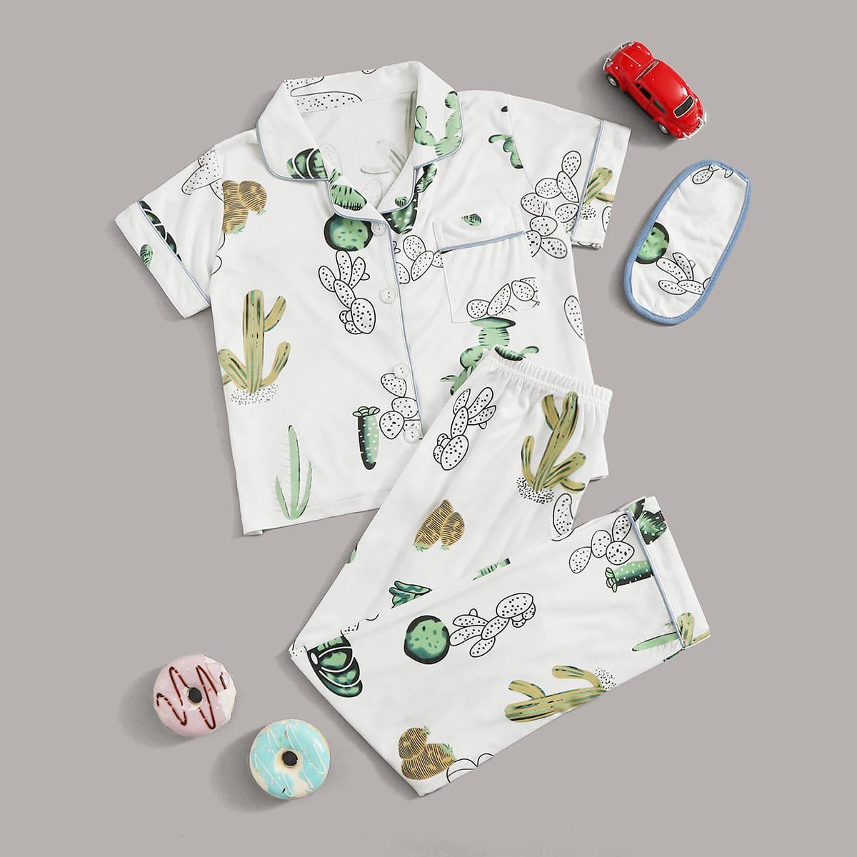 Маска для глаз и пижама с принтом растения для мальчиков от SHEIN