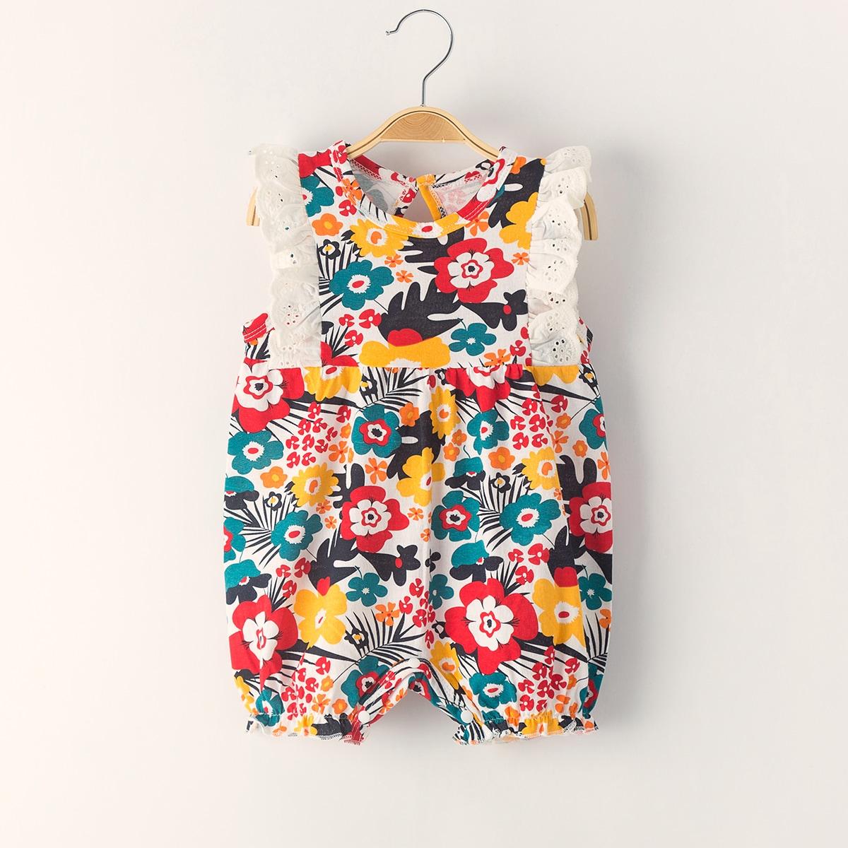 Комбинезон с цветочным принтом и оборками для девочек от SHEIN
