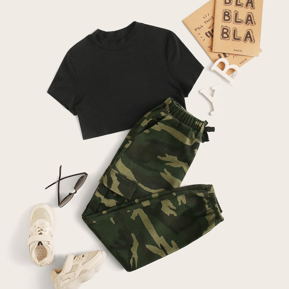 SHEIN / Mädchen Reines Top mit Stehkragen und Hosen Set mit Camo Muster