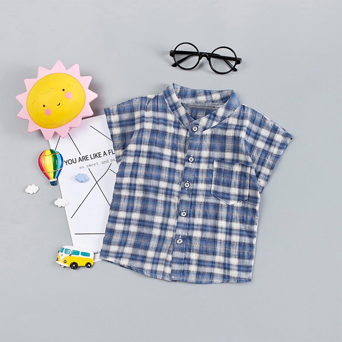 Рубашка в клетку с пуговицами для мальчиков от SHEIN