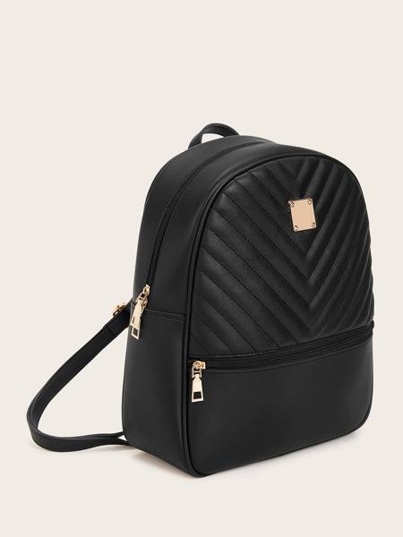 Metal Detail Chevron Zip Front Backpack