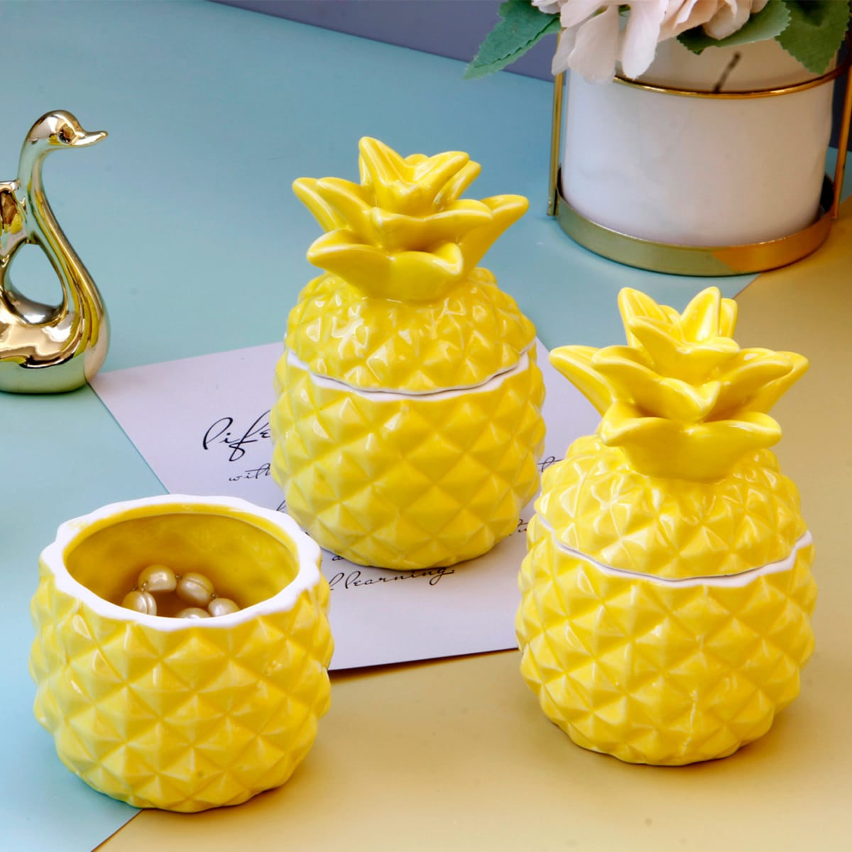 1pc ananas gevormde sieraden opbergdoos