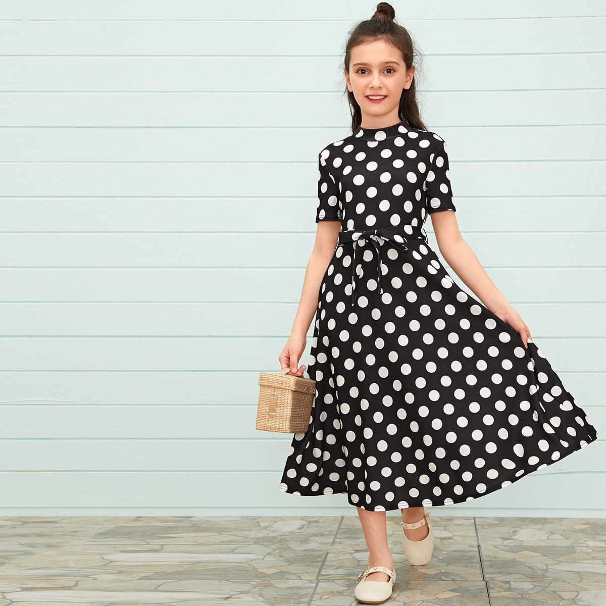 SHEIN / Girls Mock-Neck Self Belted Polka Dot Dress