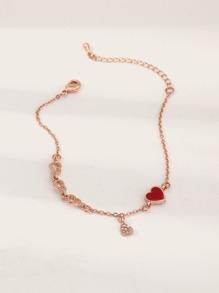 Rhinestone | Bracelet | Engrave | Toddler | Charm | Heart | Girl