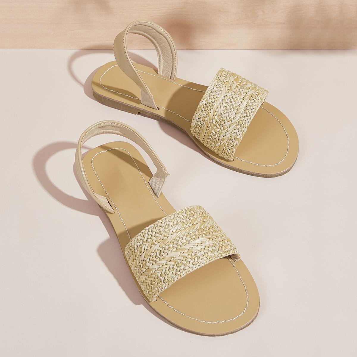 Gevlochten band-sandalen met slingback
