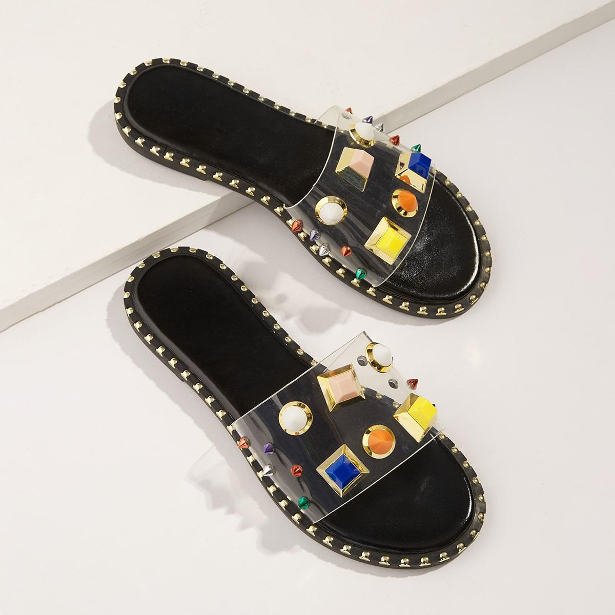 SHEIN / Zapatillas transparentes con diseño de tachuela