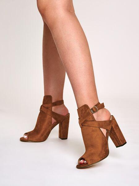 Peep Toe Cross Strap Chunky Heeled Boots
