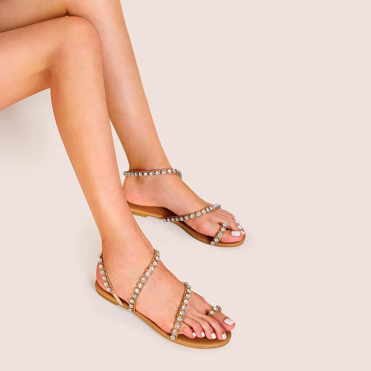 Strass decor teenring strappy sandalen