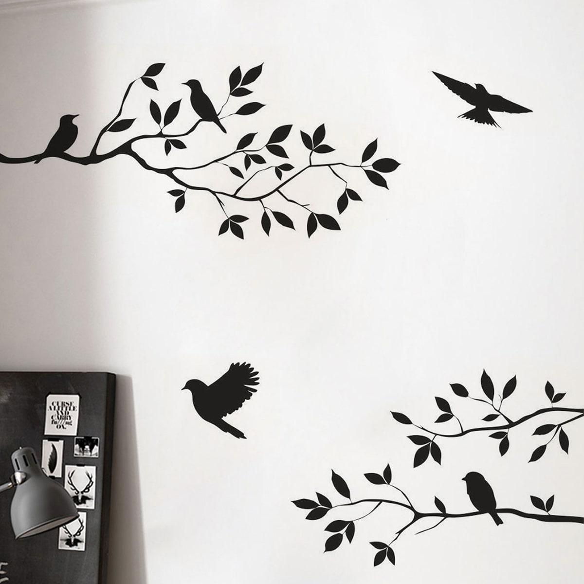 Стикер для стены с принтом птицы и дерева