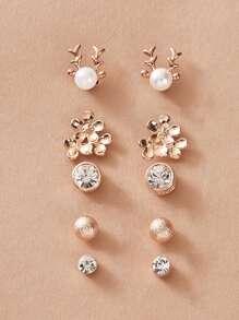 Rhinestone   Engrave   Earring   Flower   Set