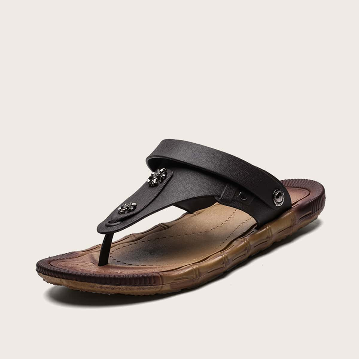 Mannen metalen decor strand slippers