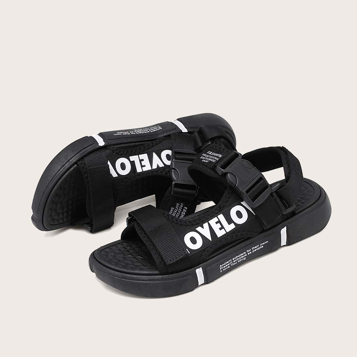 Mannen Letter grafische release gesp dikke sandalen