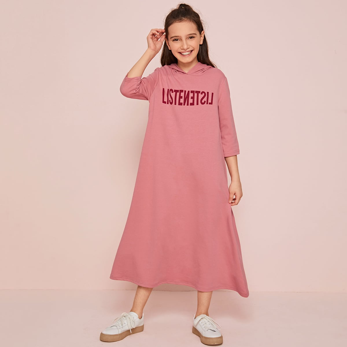 Платье-свитшот с капюшоном и текстовым принтом для девочек от SHEIN