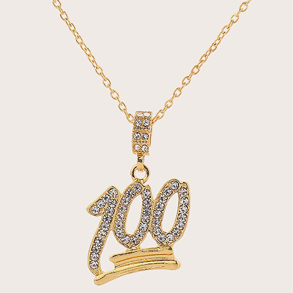 Мужское ожерелье с подвеской цифры и стразами 1шт от SHEIN