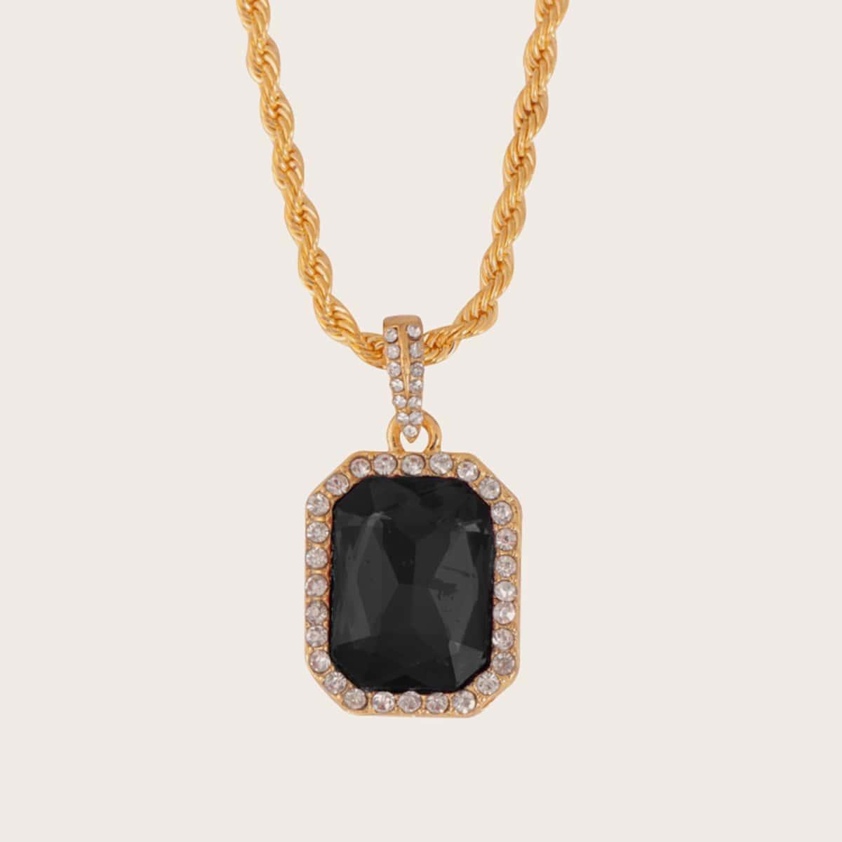 Мужское ожерелье с геометрической подвеской и стразами 1шт от SHEIN