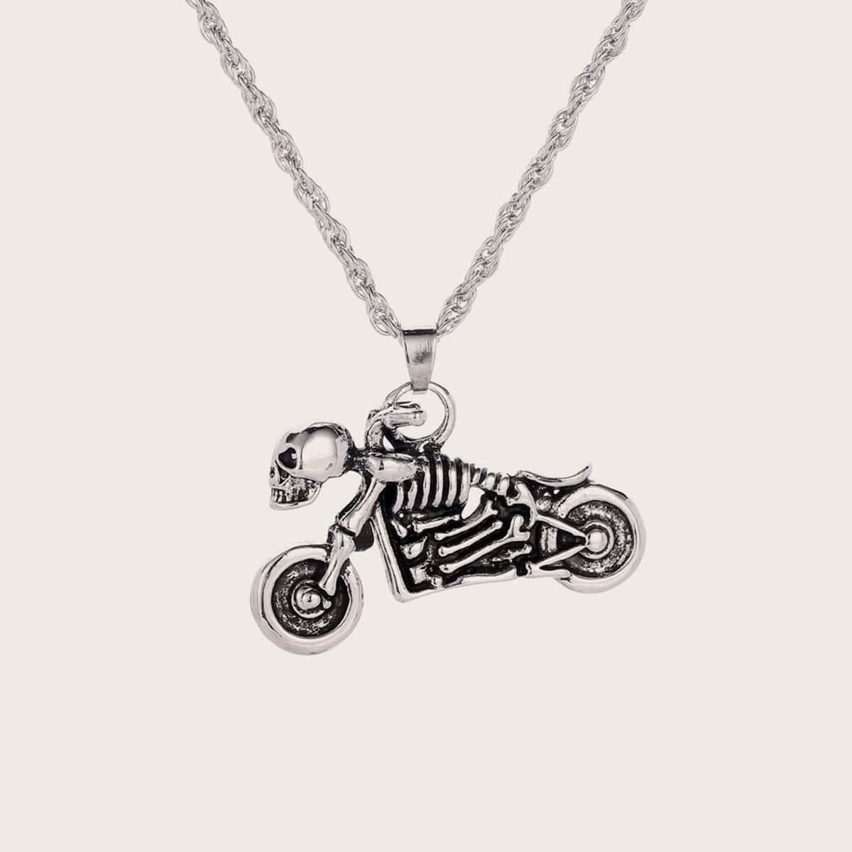 Мужское ожерелье с подвеской скелета и мотоцикла 1шт от SHEIN
