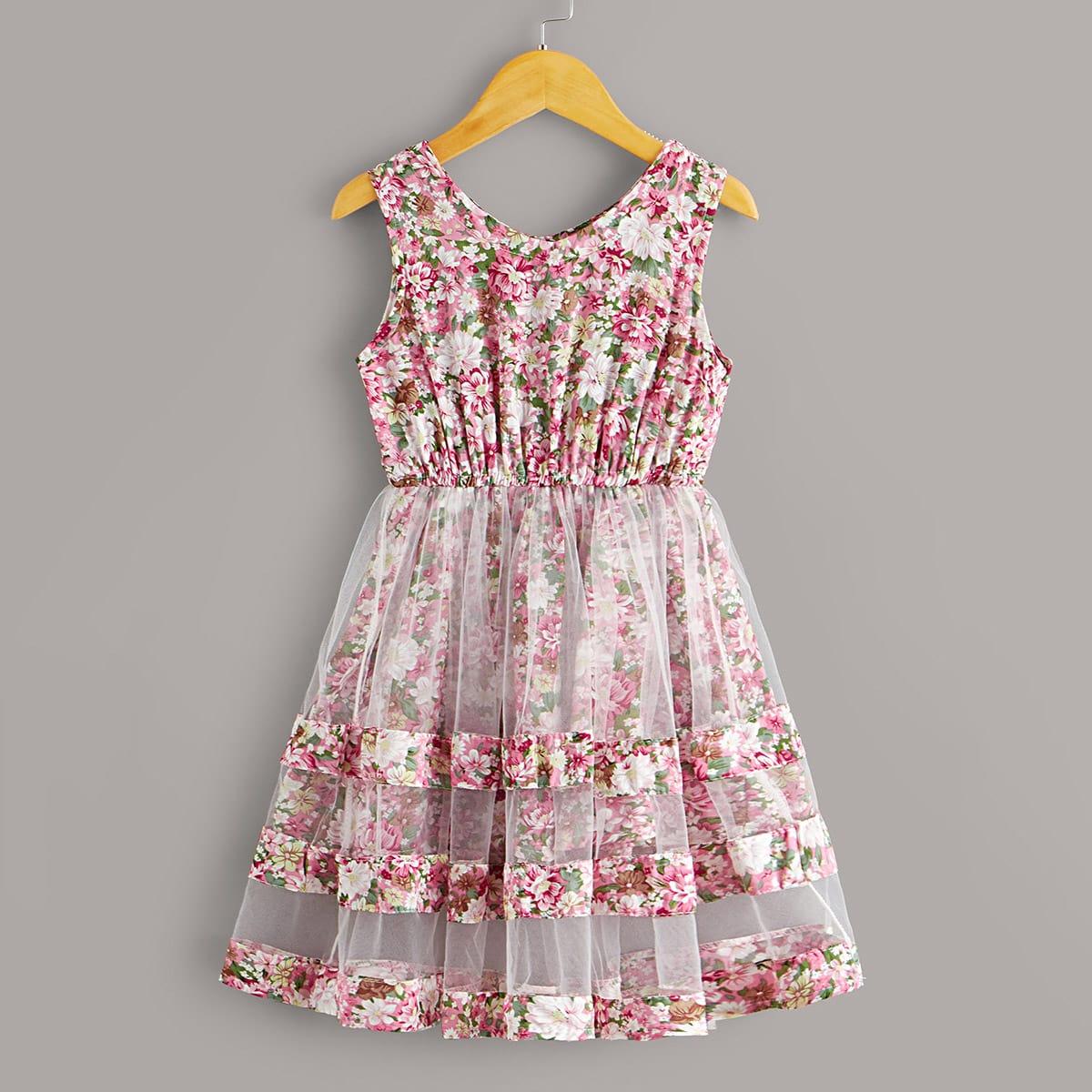 SHEIN / Toddler Girls Floral Mesh Panel A-line Dress