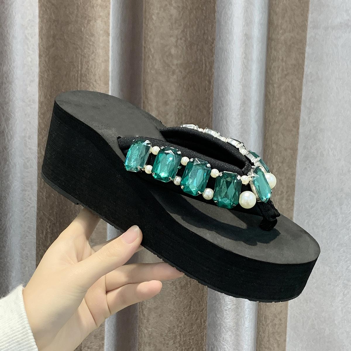 Edelstenen detail dikke zool slippers