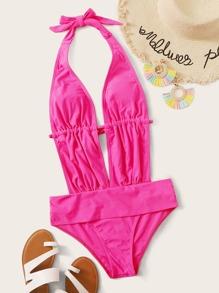 Swimsuit   Plunge   Halter   Piece   Neon   Pink   One