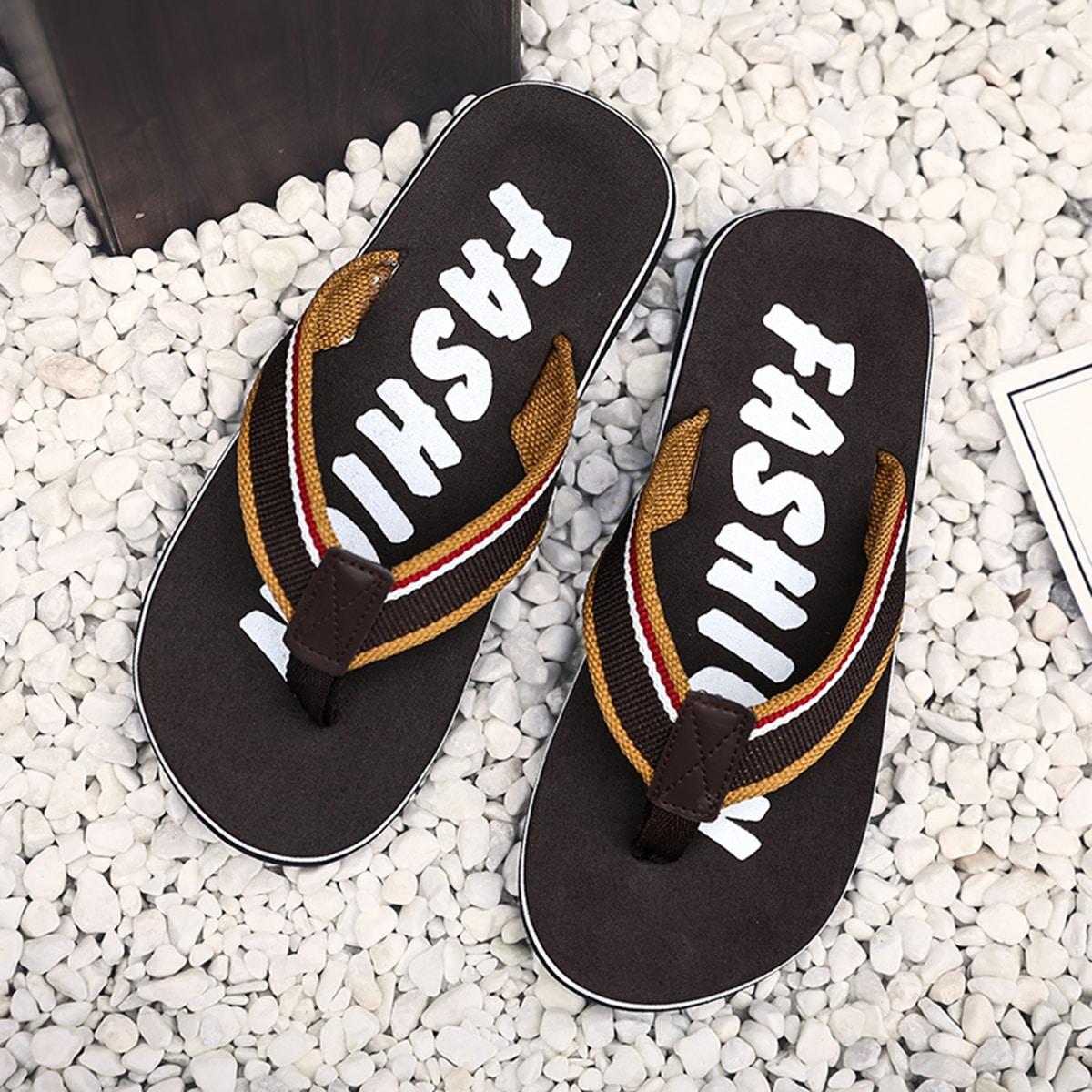 Flip-flops voor heren met gestreepte canvasriem