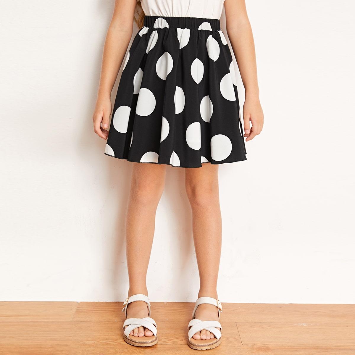 Расклешенная юбка в горошек для девочек от SHEIN