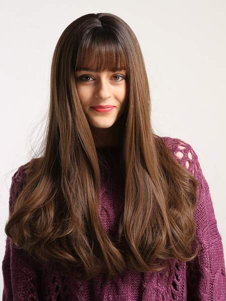Nature Long Curly Wig With Bangs
