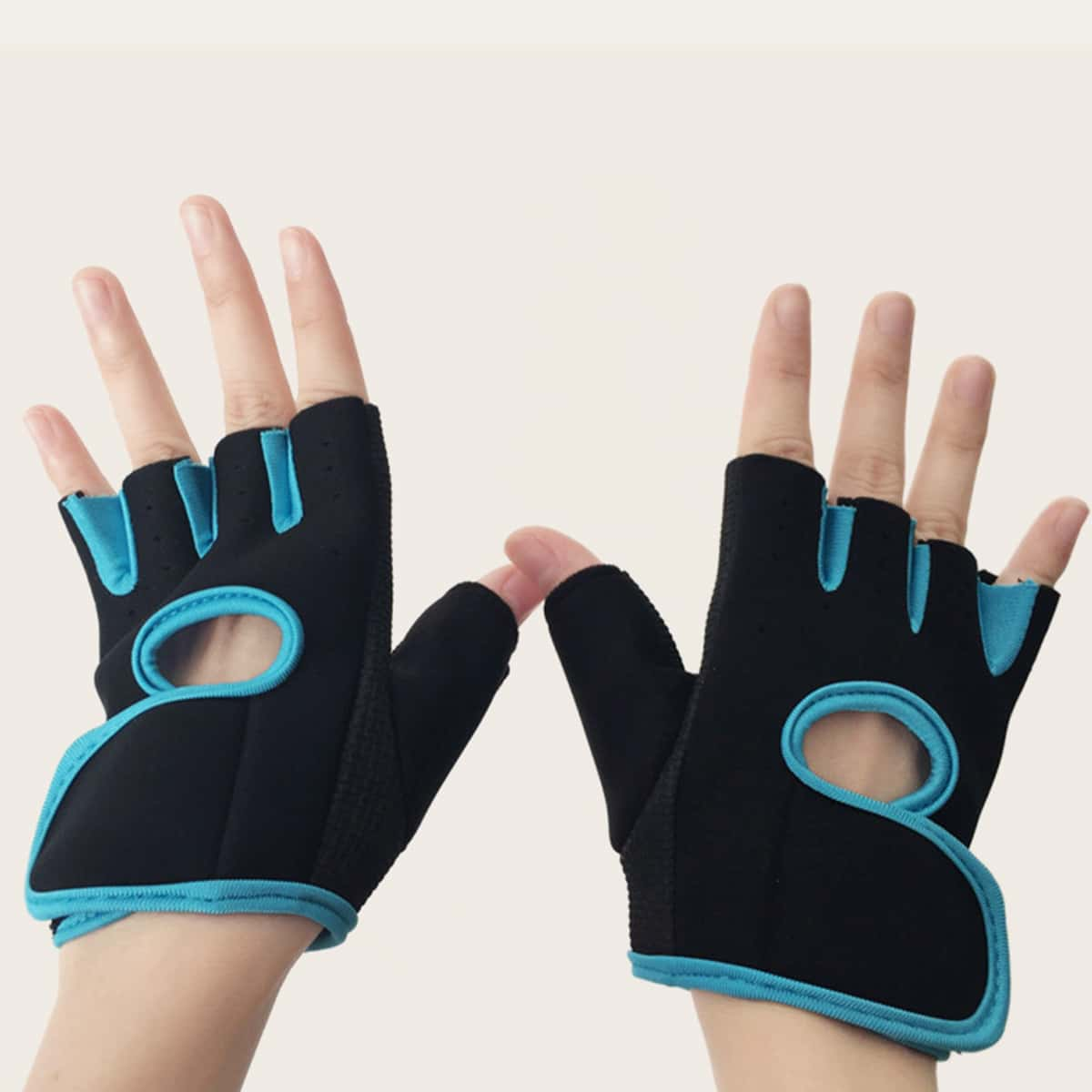1 paar tweekleurige vingerloze handschoenen