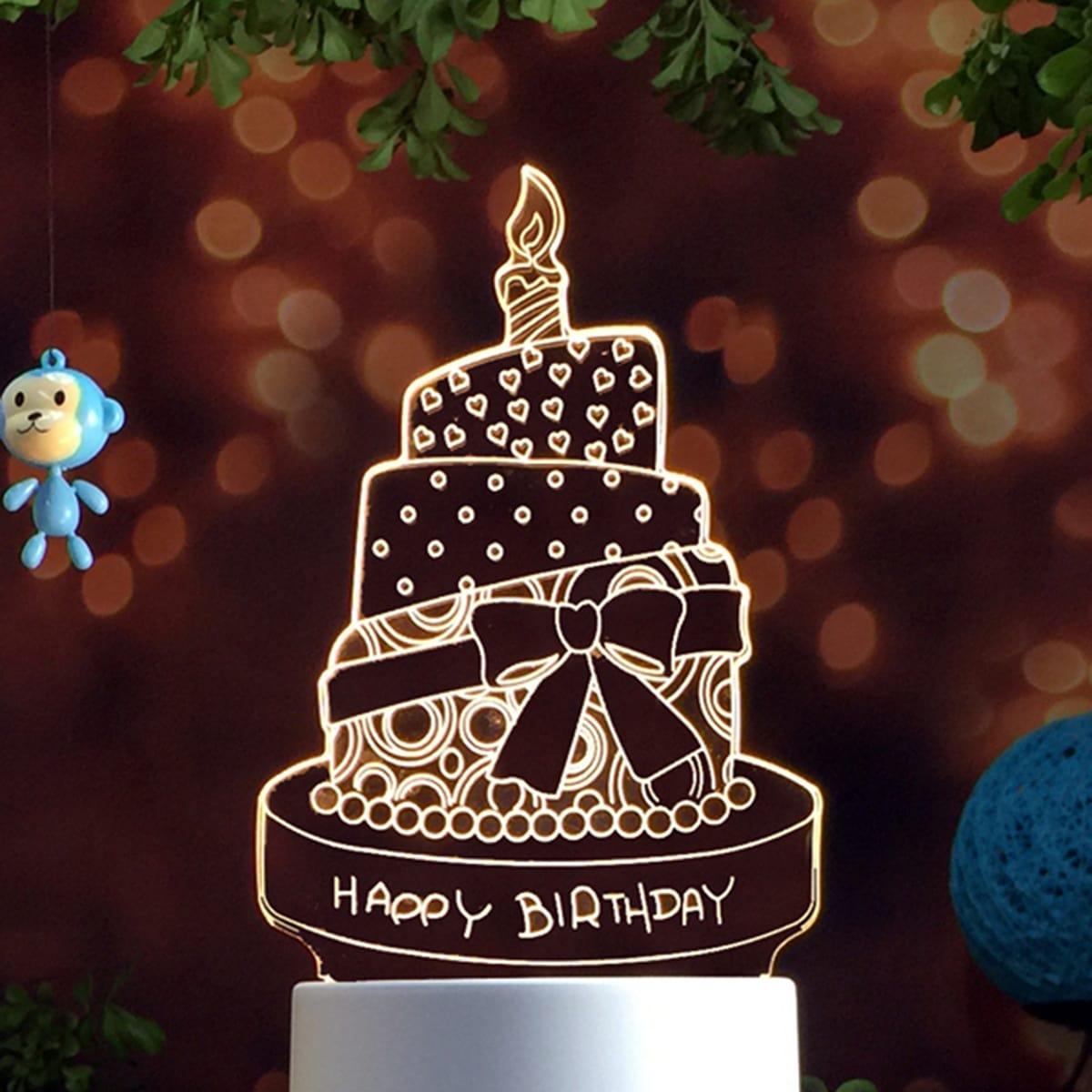 Verjaardagstaart Gevormd Nachtlampje