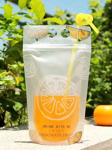 5pcs Random Pattern Beverage Bag With Straw