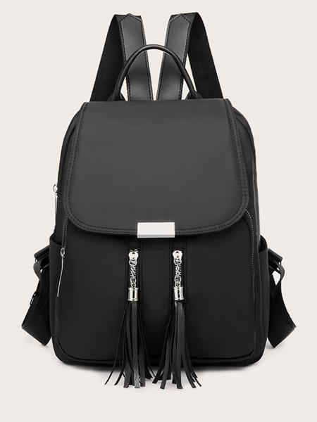 Tassel Decor Flap Backpack