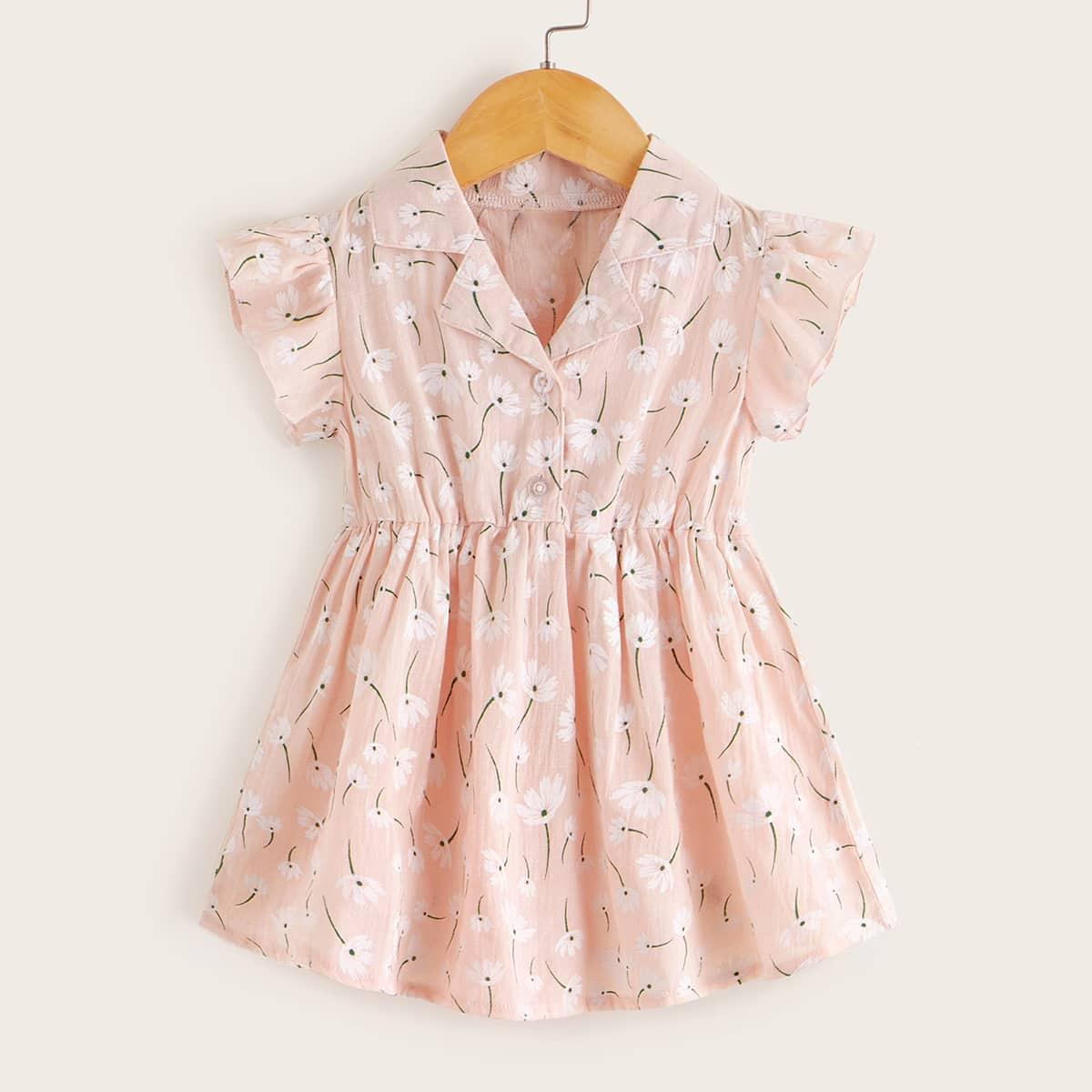 Платье-рубашка с принтом растения для девочек от SHEIN