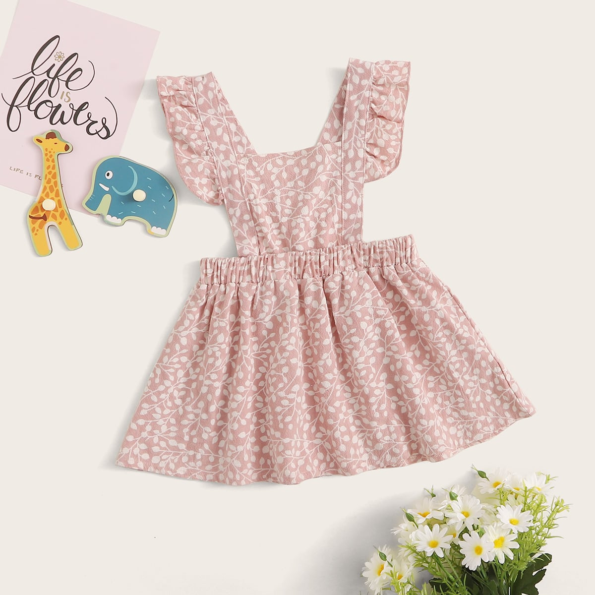 Платье-сарафан с принтом растения и оборками для девочек от SHEIN