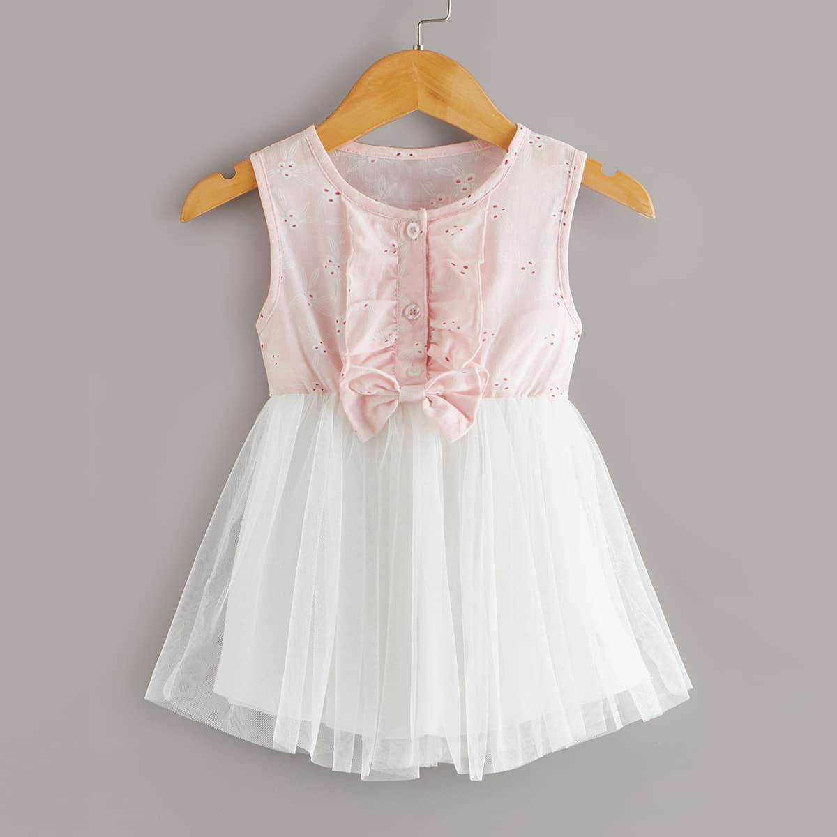 Платье с бантом и оборками для девочек от SHEIN