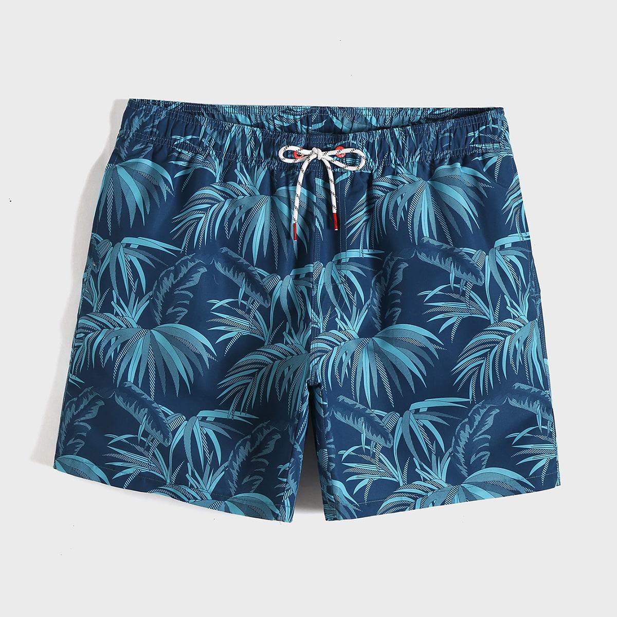 Blauw Boho Tropisch Heren badmode Koord