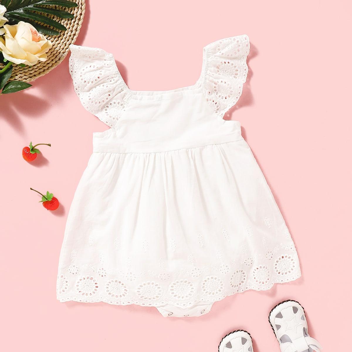 Платье-боди с ажурной вышивкой для девочек от SHEIN