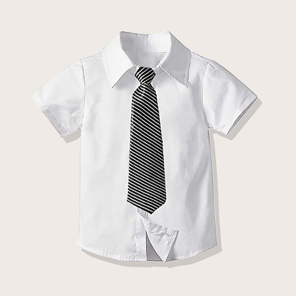 Рубашка на пуговицах с полосатым галстуком для мальчиков от SHEIN