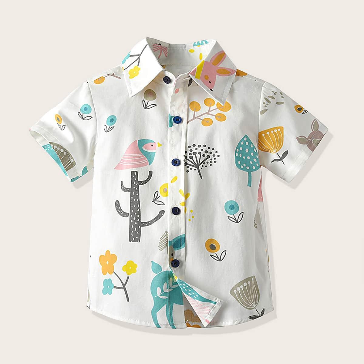 Рубашка на пуговицах с принтом растения для мальчиков от SHEIN