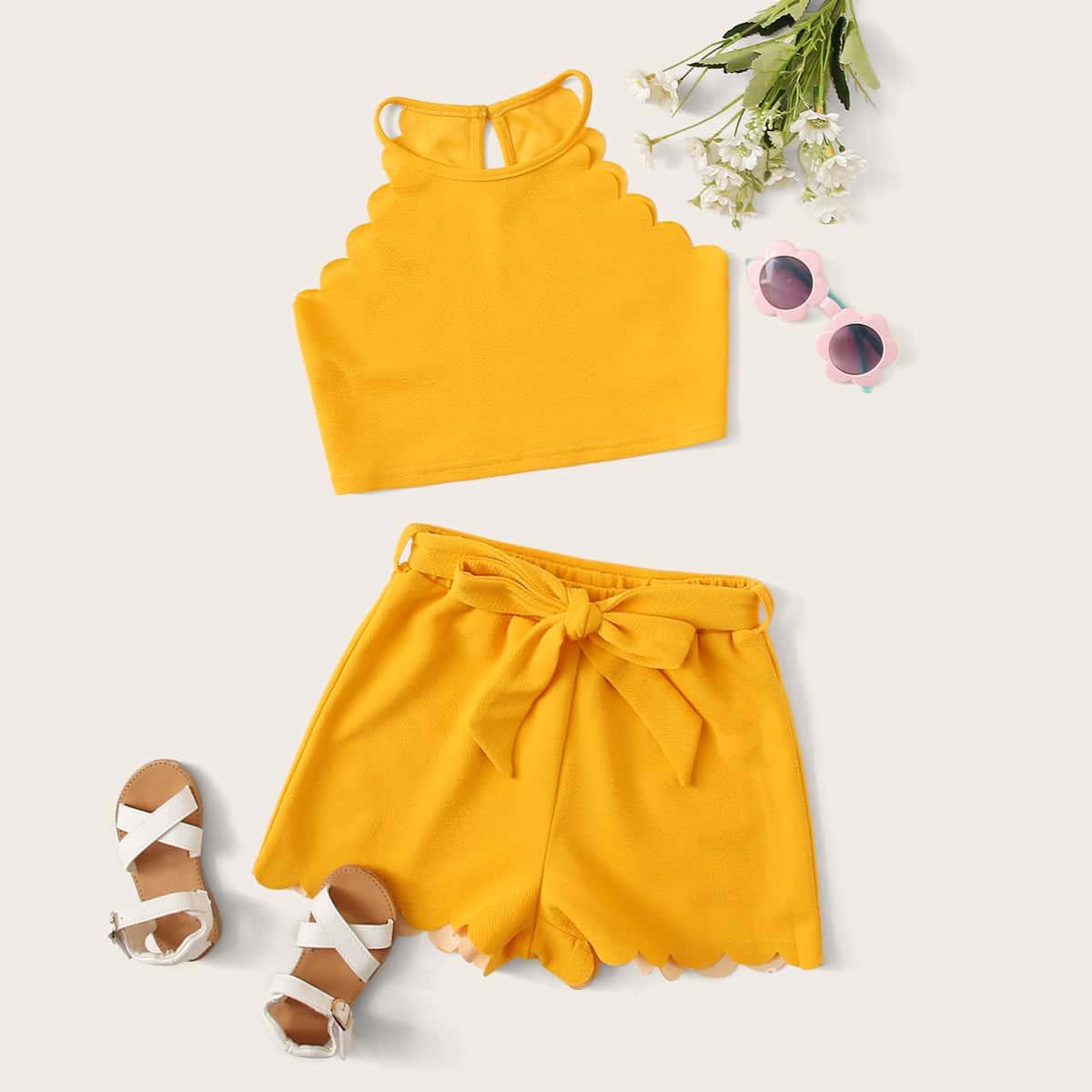 SHEIN / Mädchen Top mit Neckholder und Shorts Set mit Gürtel