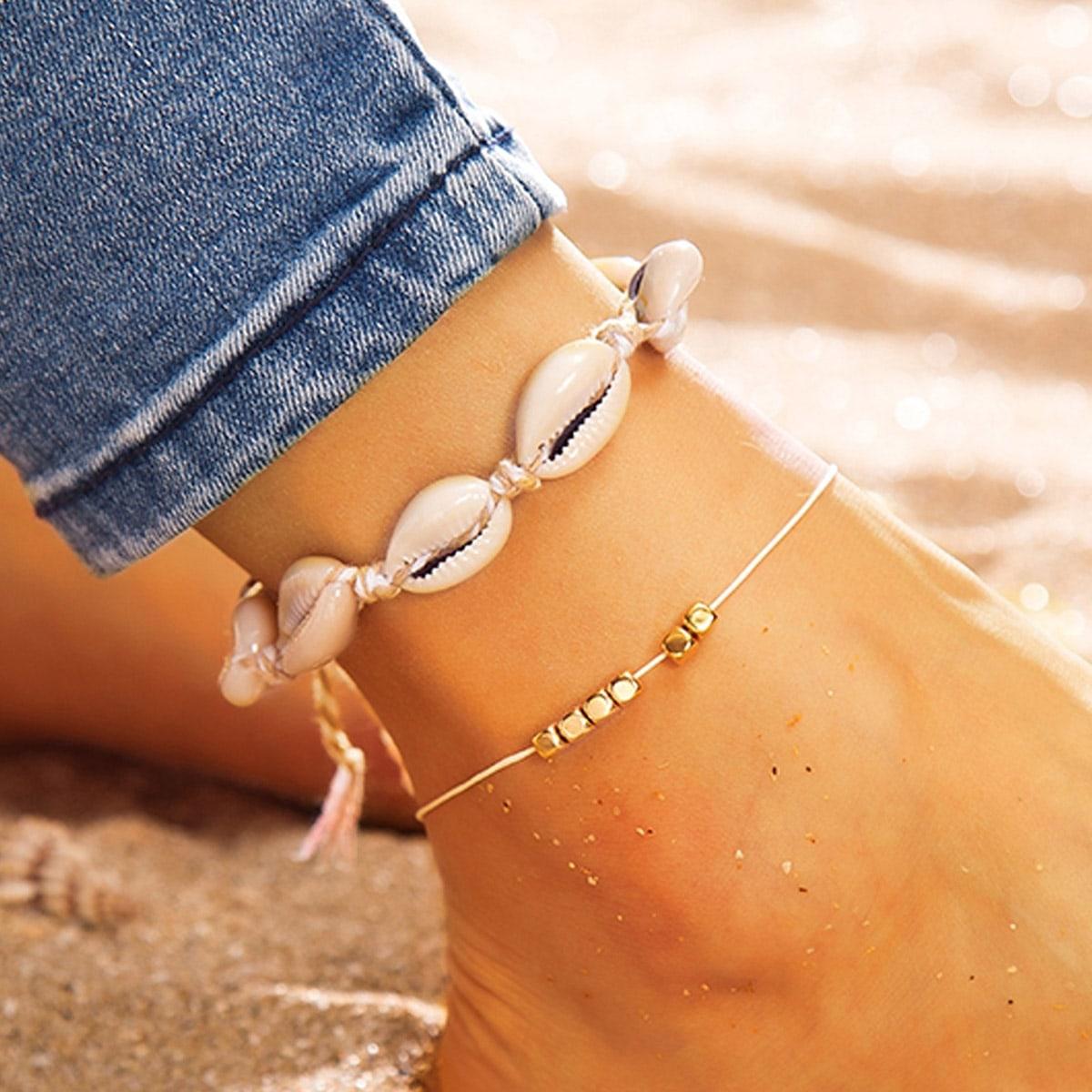 SHEIN / 2 Stücke Fußkette mit Muschel und Perlen