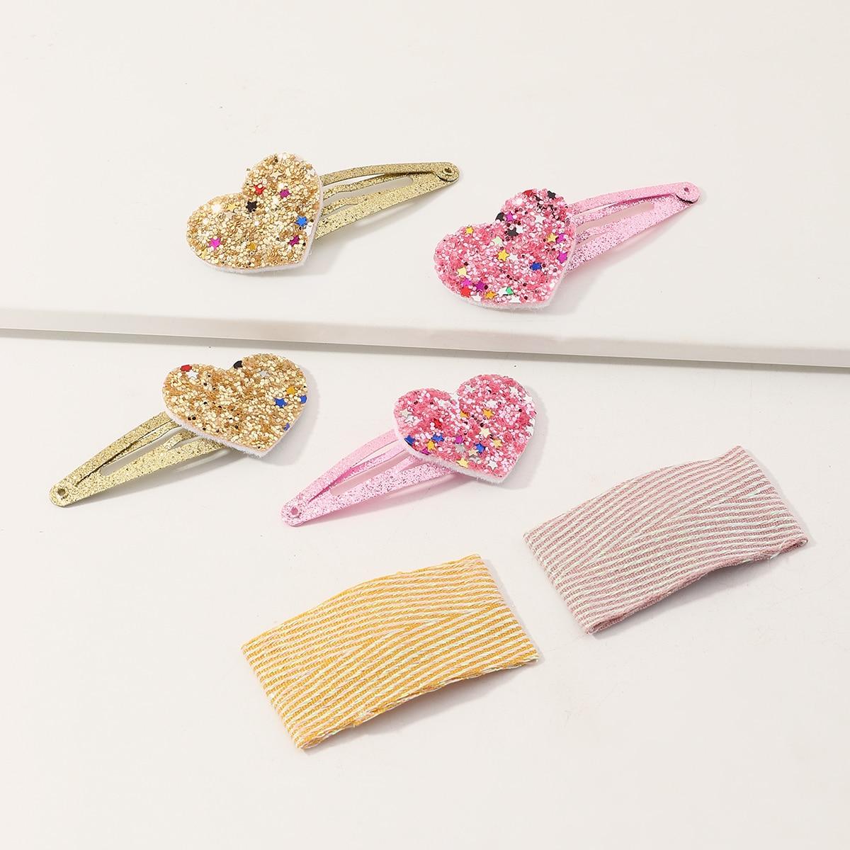 Зажим для волос с декором блестящего сердечка для девочек 3 пары фото