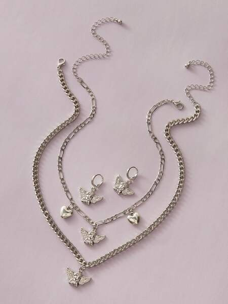 4pcs Angel Charm Necklace & Earrings