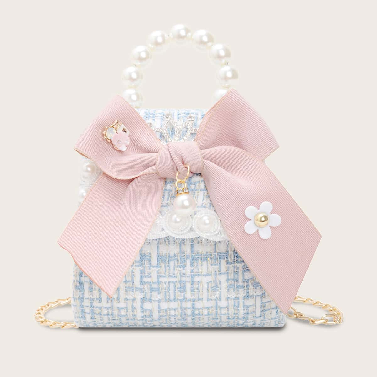 Peuter meisjes Mini Bow Decor Faux parel handvat tas