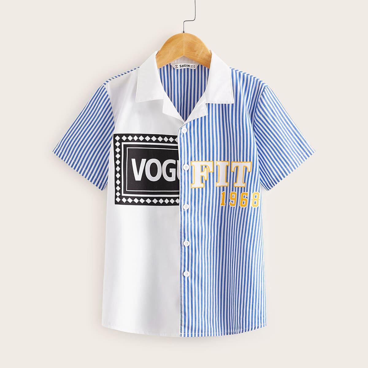Рубашка в полоску с текстовым принтом для мальчиков от SHEIN